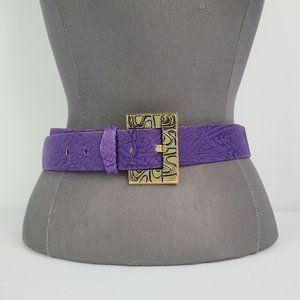 Vintage Purple Leather Textured Belt Size M